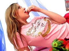 Concupiscent amateur golden-haired legal age teenager Spunky Bee dildoing her taut cum-hole