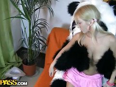 This nice-looking legal age teenager gal and her panda bear sure have much joy together! They listen to the music, sing along and dance. But why not doing smth kinkier than just dance? So the blondie strips in nature's garb, playing with a large sex tool. This makes the panda bear sexually excited as hell, and luckily, this chab has smth to satisfy his wicked ally's lust! A large ding-dong is ready to pierce the hotty's oozing hole, to make her forget about anything and plunge into salacious joy fucking. This awesome teenporn clip scene is sure ...