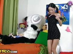 This gorgeous teenage sweetheart was just playing with her toys and having fun, but suddenly this honey realized that her large panda bear wasn't indeed a toy. But don't u be scared, busty teenage gal, that guy's not intend to injury u. All that fellow wishes is a little sex play. So why not try to have sexy sex with him, and moreover, panda's darksome megadildo looks indeed arousing. And guess what, panda bear knows so many sex poses, his shagging skills are indeed impressive! This kinky sex movie scene is a must-watch if u're into enjoyment porn...