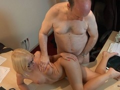 This youthful golden-haired lady doctor knows well how to treat an old fellow during the time that medical examination. That Honey applies him a modern therapy which consist in long licking balls, intense 10-Pounder sucking and fuck